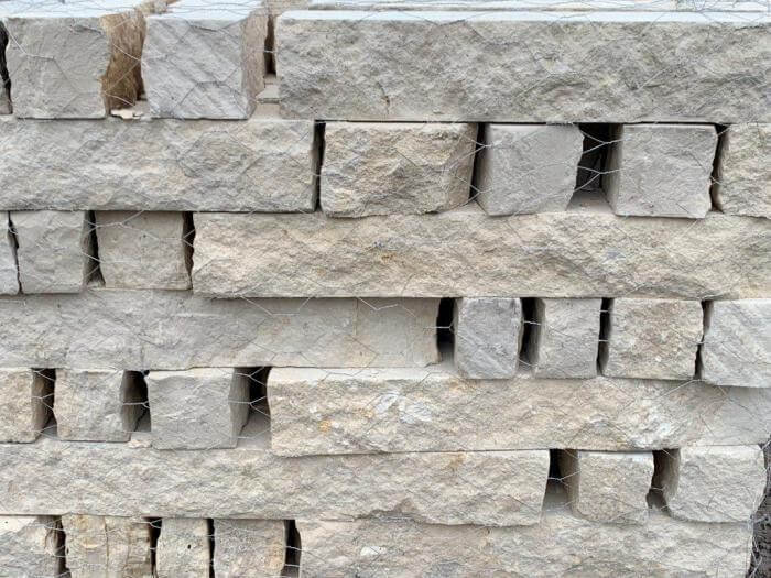 White Limestone Natural Chopped Stone Landscape Edging Houston, TX