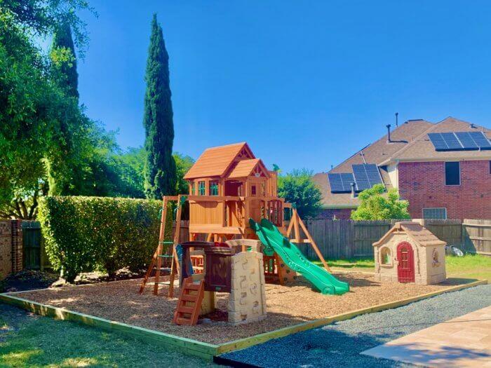 Playground Set Backyard Playground Mulch Landscape Timber Border Installation Houston, TX